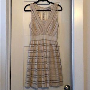 EUC Anthropologie Cream Ribbon dress, sz 8